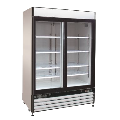 Maxx Cold MXM2-48RSB 54.00'' White 2 Section Sliding Refrigerated Glass Door Merchandiser