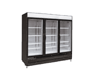 Maxx Cold MXM3-72RB 81.00'' Black 3 Section Swing Refrigerated Glass Door Merchandiser
