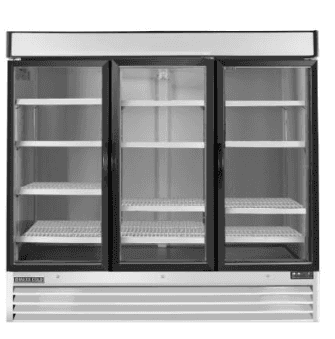 Maxx Cold MXM3-72RS 81.00'' White 3 Section Sliding Refrigerated Glass Door Merchandiser