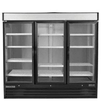 Maxx Cold MXM3-72RSB 81.00'' Black 3 Section Sliding Refrigerated Glass Door Merchandiser