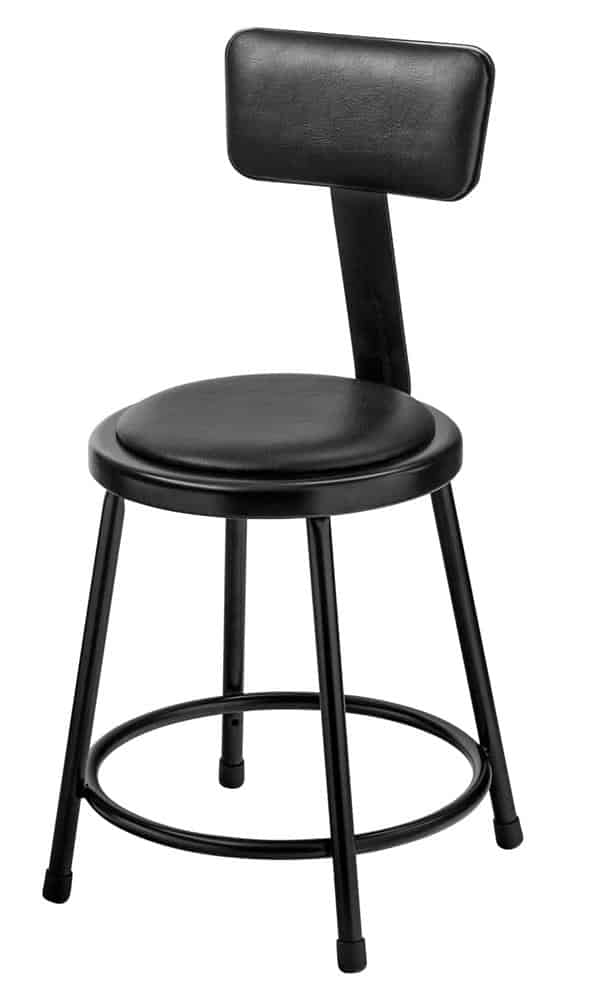 "National Public Seating 6418B-10 18"" Black Stool with Padded Seat and Backrest"