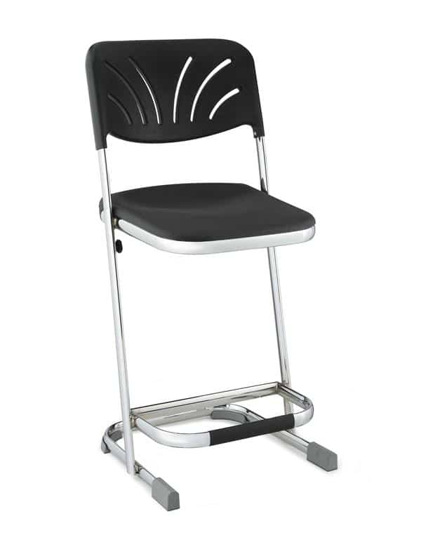 National Public Seating 6622B Elephant Z-Stool Black Seat Blow Molded Chrome Frame w/ ADJ. Backrest