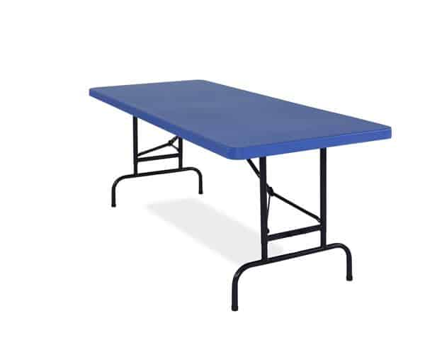 National Public Seating BTA-3072-04 All-American ADJ. Rectangular Folding Table Blue or Red