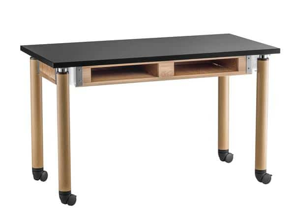 National Public Seating SLT2448AH-OK-BC-CAST Adjustable Height Chem-Res Top w/ Book Compartments Science table with Oak Legs, Casters