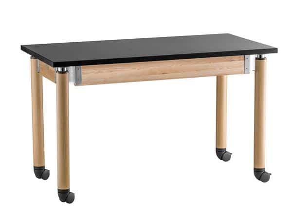 National Public Seating SLT2472AH-OK-CAST Adjustable Height Chem-Res Top Science table with Oak Legs, Casters