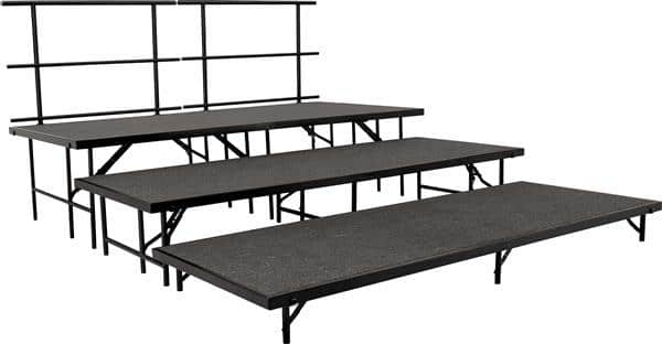"National Public Seating SST48C Stage Set 48""Wx96""Lx8""H, 48""Wx96""Lx16""H, 48""Wx96""Lx24""H & two guard rails Portable Stages"