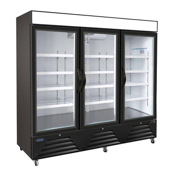 Nor-Lake NLFGM72HB 81'' 72.0 cu. ft. 3 Section Black Glass Door Merchandiser Freezer