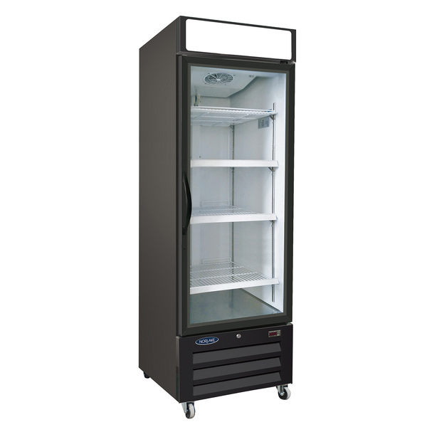 Nor-Lake NLRGM23HB 27'' Black 1 Section Swing Refrigerated Glass Door Merchandiser