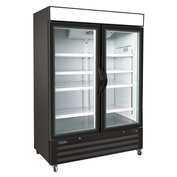 Nor-Lake NLRGM48HB 54'' Black 2 Section Swing Refrigerated Glass Door Merchandiser
