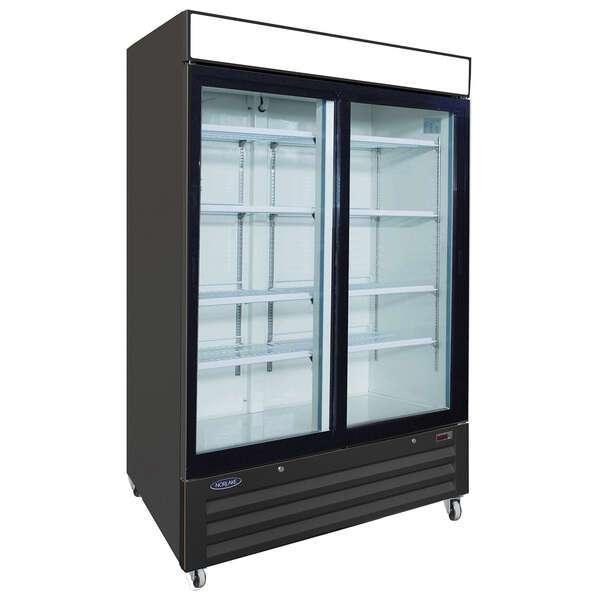 Nor-Lake NLRGM48SB 54'' Black 2 Section Sliding Refrigerated Glass Door Merchandiser