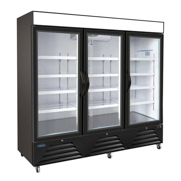 Nor-Lake NLRGM72HB 81'' Black 3 Section Swing Refrigerated Glass Door Merchandiser