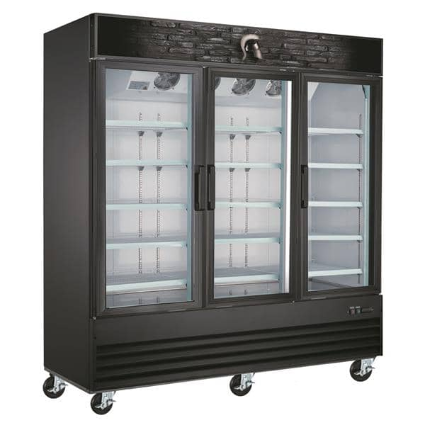 Spartan Refrigeration SGM-72RS 78.3'' Black 3 Section Swing Refrigerated Glass Door Merchandiser