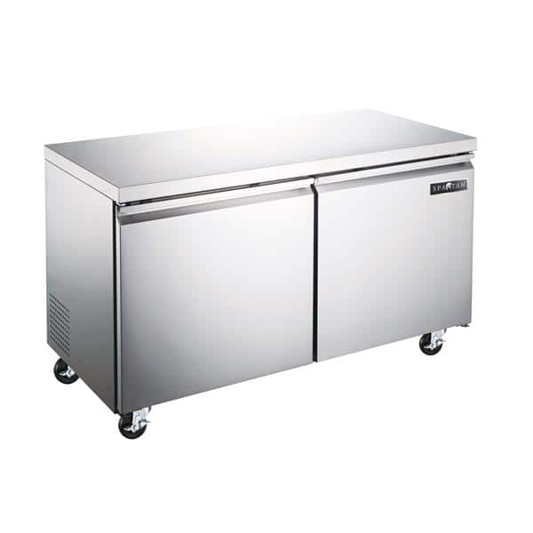 Spartan Refrigeration SUF-48 47.25'' 2 Section Undercounter Freezer with 2 Left/Right Hinged Solid Doors and Side / Rear Breathing Compressor
