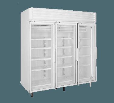 Global Refrigeration T80LGP 78'' 76.2 cu. ft. 3 Section White Glass Door Merchandiser Freezer