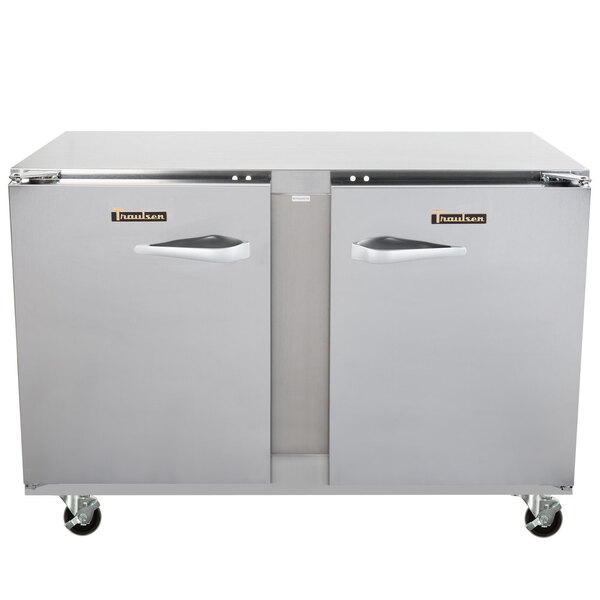 Traulsen ULT48LL-0300-SB 48'' 2 Section Undercounter Freezer with 2 Left Hinged Solid Doors and Front Breathing Compressor