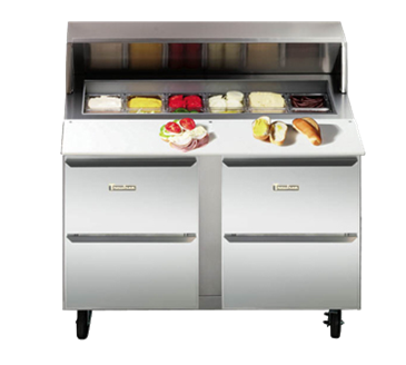 Traulsen UPT279-D Dealer's Choice Compact Prep Table Refrigerator with roll-top lid which serves as an overshelf