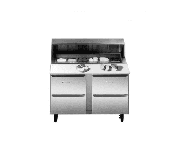 Traulsen UPT7230-DD-SB Dealer's Choice Compact Prep Table Refrigerator with roll-top lid which serves as an overshelf