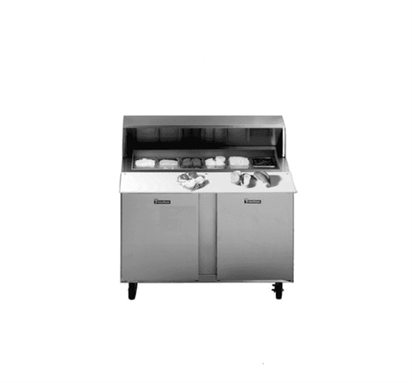 Traulsen UPT7230-LR-SB Dealer's Choice Compact Prep Table Refrigerator with roll-top lid which serves as an overshelf