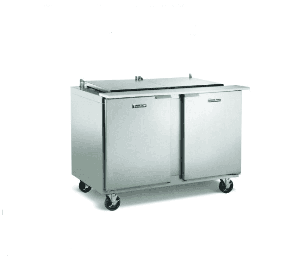 Traulsen UST6012-LR Dealer's Choice Compact Prep Table Refrigerator with low-profile flat cover