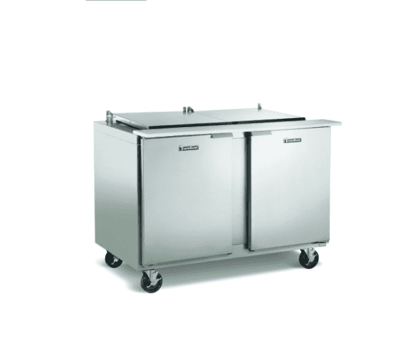 Traulsen UST7230-LR-SB Dealer's Choice Compact Prep Table Refrigerator with low profile flat cover