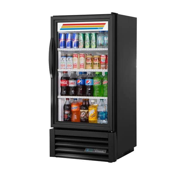 True Mfg. - General Foodservice GDM-08-HC~TSL01 23.5'' Black 1 Section Swing Refrigerated Glass Door Merchandiser