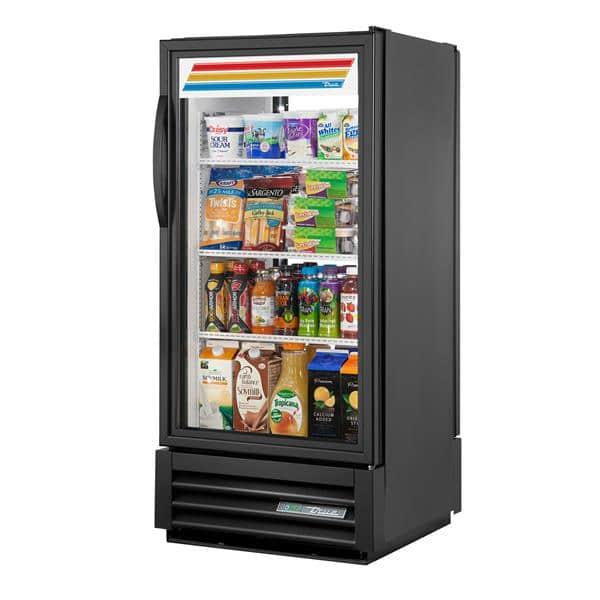 True Mfg. - General Foodservice GDM-10PT-HC~TSL01 24.88'' Black 1 Section Swing Refrigerated Glass Door Merchandiser