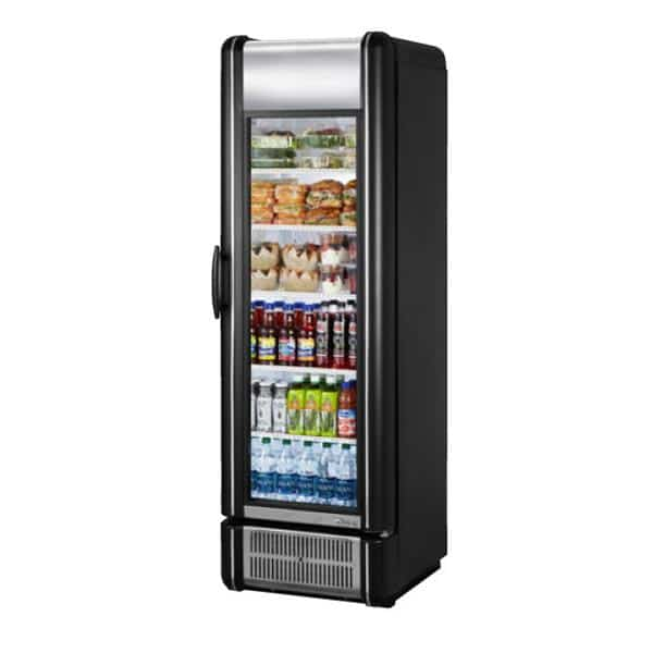 True Mfg. - General Foodservice GDM-15-RTO-HC-LD 24.88'' Black 1 Section Swing Refrigerated Glass Door Merchandiser