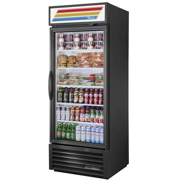 True Mfg. - General Foodservice GDM-26-HST-HC~TSL01 30'' Black 1 Section Swing Refrigerated Glass Door Merchandiser