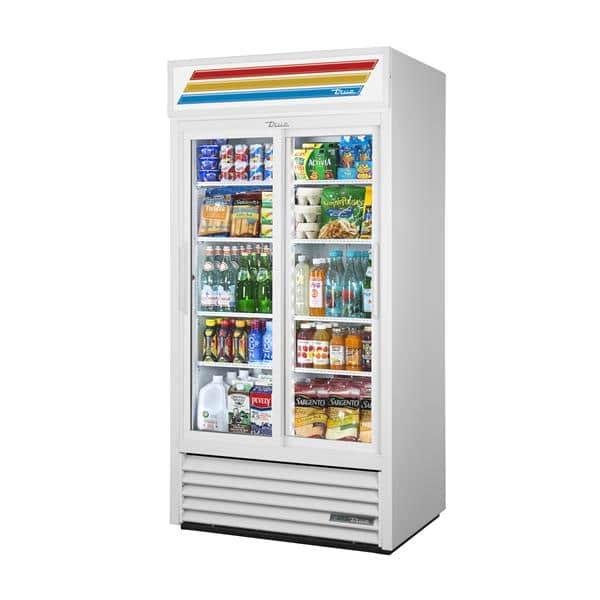 True Mfg. - General Foodservice GDM-33-HC~WTRM01 WHT 39.50'' White 2 Section Sliding Refrigerated Glass Door Merchandiser