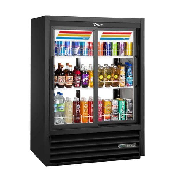 True Mfg. - General Foodservice GDM-33CPT-54-HC-LD 39.50'' Black 2 Section Sliding Refrigerated Glass Door Merchandiser