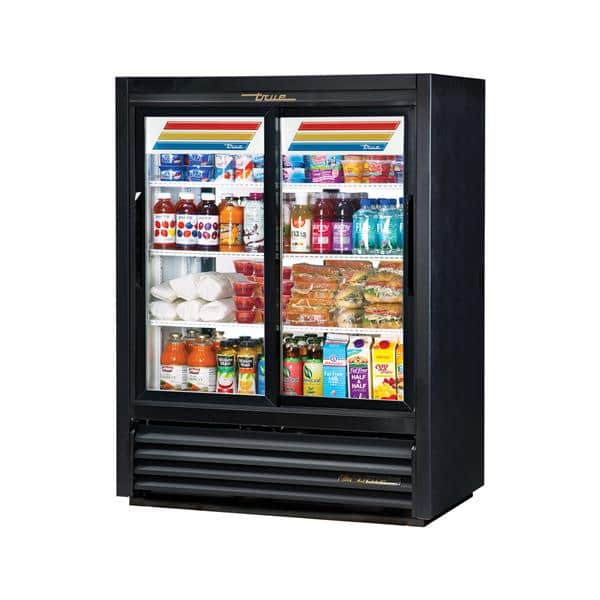 True Mfg. - General Foodservice GDM-33CPT-54-LD 39.5'' Black 2 Section Sliding Refrigerated Glass Door Merchandiser