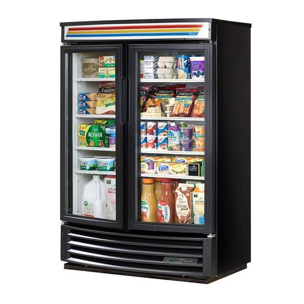 True Mfg. - General Foodservice GDM-35SL-RF-HC-LD 39.75'' Black 2 Section Swing Refrigerated Glass Door Merchandiser