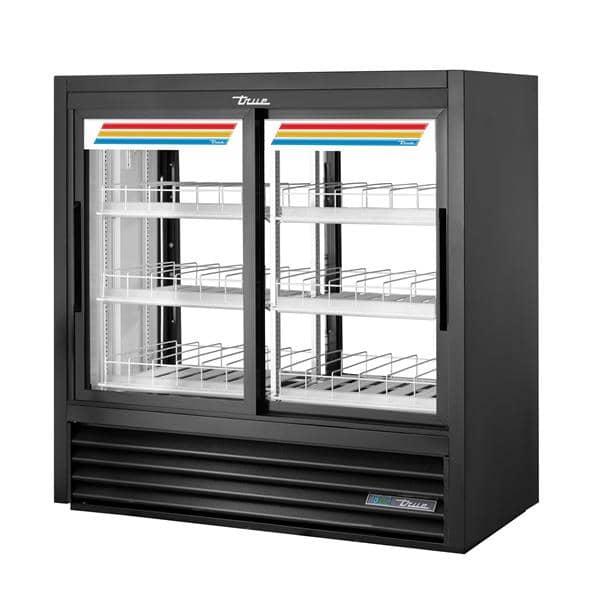 True Mfg. - General Foodservice GDM-41CPT-48-HC-LD 48.00'' Black 2 Section Sliding Refrigerated Glass Door Merchandiser