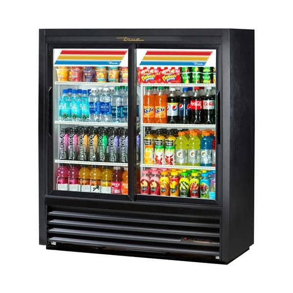 True Mfg. - General Foodservice GDM-41SL-54-HC-LD 47.13'' Black 2 Section Sliding Refrigerated Glass Door Merchandiser