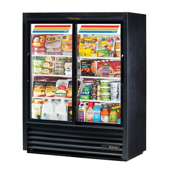 True Mfg. - General Foodservice GDM-41SL-60-HC-LD 47.13'' Black 2 Section Sliding Refrigerated Glass Door Merchandiser