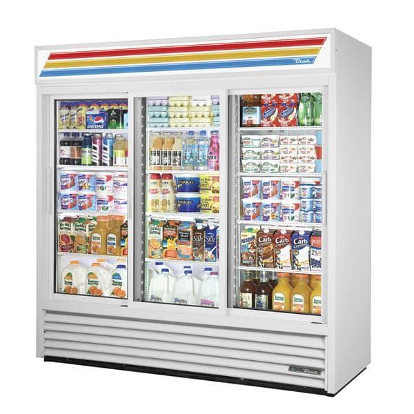 True Mfg. - General Foodservice GDM-69-HC~WTRM01 WHT 78.13'' White 3 Section Sliding Refrigerated Glass Door Merchandiser