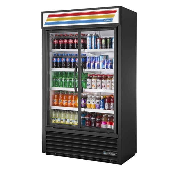 True Mfg. - General Foodservice TVM-48SL-HC~VM01 47.13'' Black 2 Section Swing Refrigerated Glass Door Merchandiser