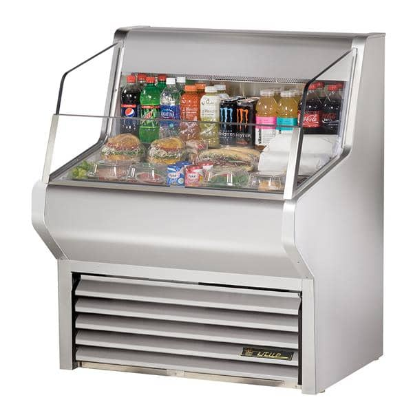 True Mfg. - General Foodservice THAC-36-S-LD 36.13'' Stainless Steel Horizontal Air Curtain Open Display Merchandiser with 3 Shelves