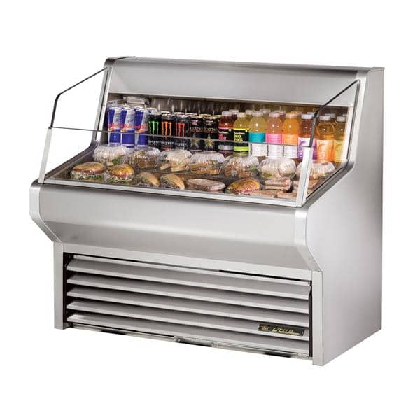 True Mfg. - General Foodservice THAC-48-S-LD 48.13'' Stainless Steel Horizontal Air Curtain Open Display Merchandiser with 3 Shelves