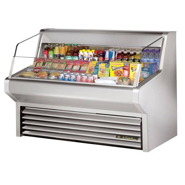 True Mfg. - General Foodservice THAC-60-S-LD 60.13'' Stainless Steel Horizontal Air Curtain Open Display Merchandiser with 3 Shelves