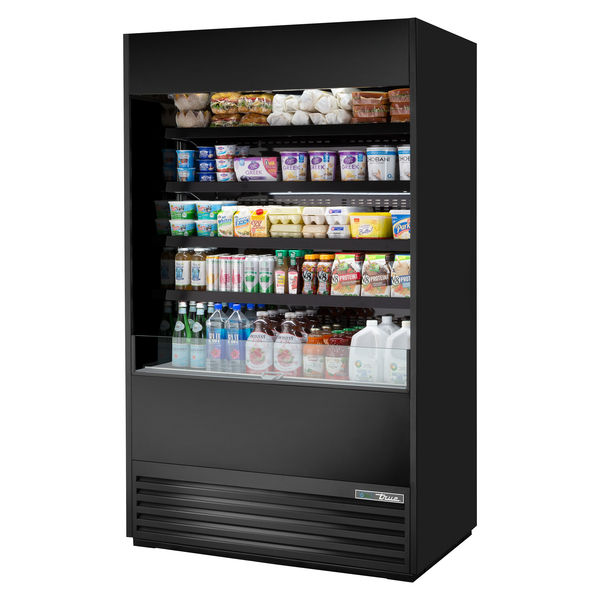 True Mfg. - General Foodservice TOAM-48-HC~NSL01 48.00'' Black Vertical Air Curtain Open Display Merchandiser with 4 Shelves