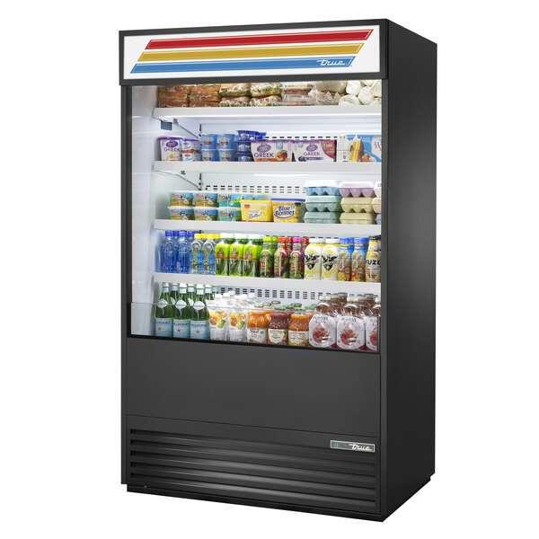 True Mfg. - General Foodservice TOAM-48-HC~TSL01 48.00'' Black Vertical Air Curtain Open Display Merchandiser with 4 Shelves