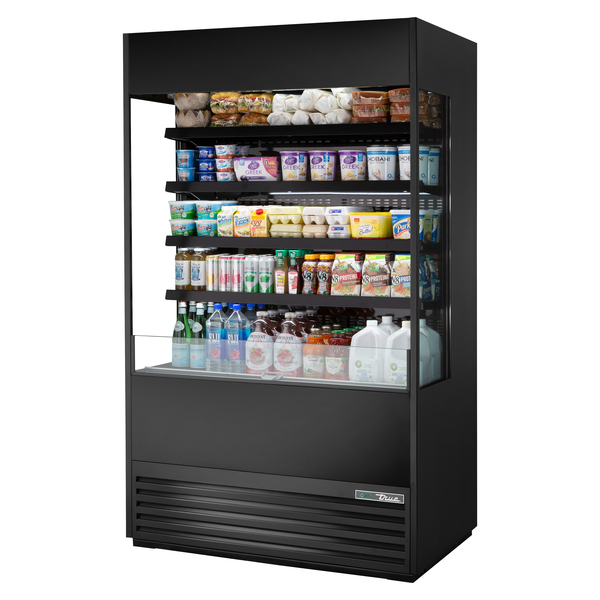 True Mfg. - General Foodservice TOAM-48GS-HC~NSL01 48.00'' Black Vertical Air Curtain Open Display Merchandiser with 4 Shelves