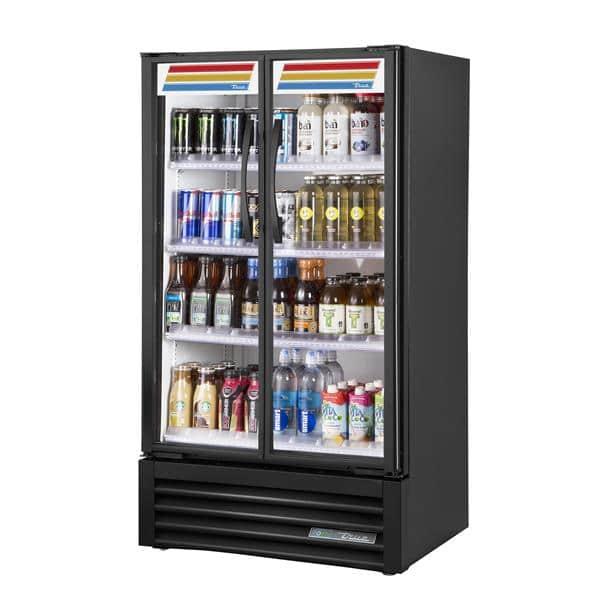 True Mfg. - General Foodservice TVM-30-HC~VM01 30.88'' Black 2 Section Swing Refrigerated Glass Door Merchandiser