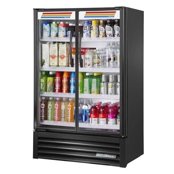 True Mfg. - General Foodservice TVM-36SL-HC~VM01 36'' Black 2 Section Sliding Refrigerated Glass Door Merchandiser