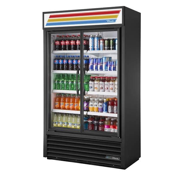 True Mfg. - General Foodservice TVM-48-HC~VM01 47.25'' Black 2 Section Swing Refrigerated Glass Door Merchandiser