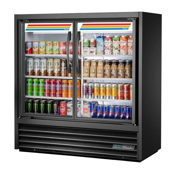 True Mfg. - General Foodservice TVM-48SL-48-HC~VM01 46.88'' Black 2 Section Swing Refrigerated Glass Door Merchandiser