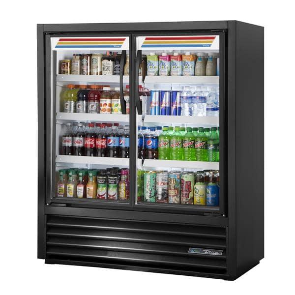 True Mfg. - General Foodservice TVM-48SL-54-HC~VM01 47.13'' Black 2 Section Swing Refrigerated Glass Door Merchandiser