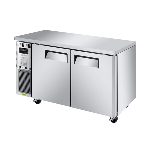 Turbo Air JUF-60S-N 59'' 2 Section Undercounter Freezer with 2 Left/Right Hinged Solid Doors and Front Breathing Compressor