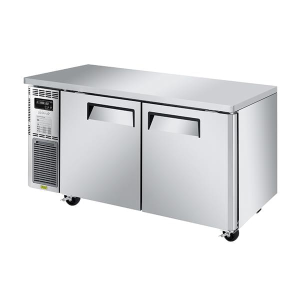 Turbo Air JUR-60S-N6 59'' 2 Section Undercounter Refrigerator with 2 Left/Right Hinged Solid Doors and Front Breathing Compressor